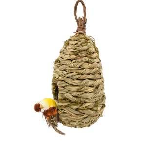 Настенный декор гнездо соломенное 23х12х12 см с птичкой оптом