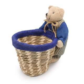 Кошик для рукоділля солом'яний 10х10х10 см з ведмедиком 20 см різні абразивні оптом