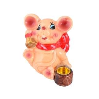 Фигурка подсвечник Мышка 8 см с колокольчиком бежевая оптом
