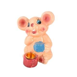Фигурка подсвечник Мышка 8 см с подарком бежевая оптом