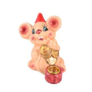 Фигурка подсвечник Мышка 8 см с монетками бежевая оптом
