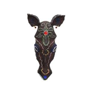 Настенная маска носорог полистоун 19х11х3 см под дерево оптом