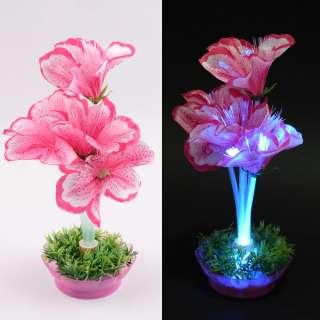 Ночник светильник на батарейках 25 см Лилия розовая оптом