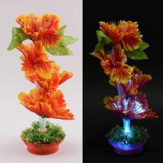 Ночник светильник на батарейках 25 см Цветок оранжевый оптом