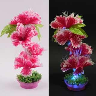 Ночник светильник на батарейках 25 см Цветок малиновый оптом