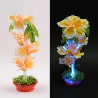 Ночник светильник на батарейках 25 см Цветок желтый оптом