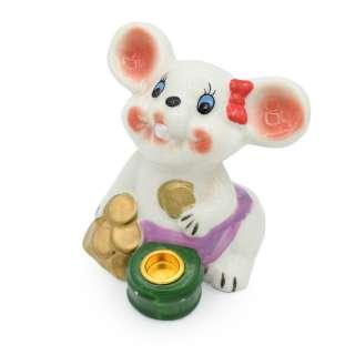 Фигурка подсвечник Мышка с монетками 8 см белая оптом