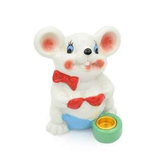 Фигурка подсвечник Мышка с бантиком 8 см белая оптом