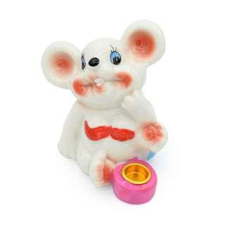Фигурка подсвечник Мышка в купальнике с розовым подсвечником 8 см белая оптом