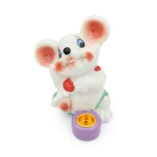 Фигурка подсвечник Мышка в купальнике с сиреневым подсвечником 8 см белая оптом