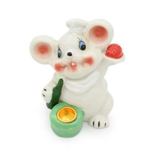 Фигурка подсвечник Мышка поваренок 8 см белая оптом