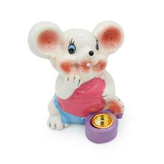 Фигурка подсвечник Мышка в розовой майке 8 см белая оптом