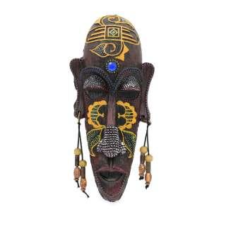Настенная маска туземец полистоун 20х9х3,5 см желтый рисунок под дерево оптом