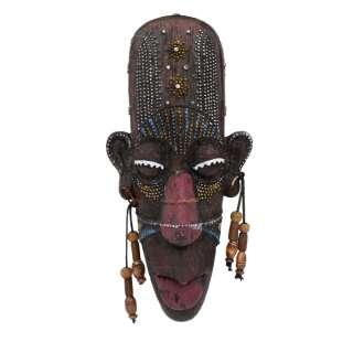 Настенная маска туземец полистоун 20х9х3,5 см с красным рисунком под дерево оптом