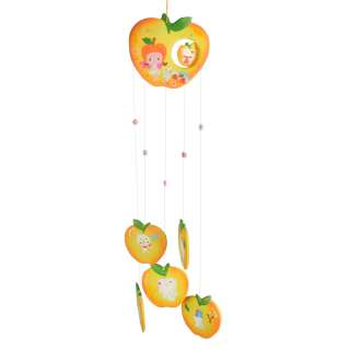 Музыка ветра подвеска керамическая яблоко 60 см желтая (0404) оптом