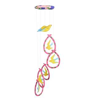 Музыка ветра подвеска керамическая птицы 75 см розово-желтая оптом