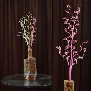 Штучна гілочка 80 см з дрібними квітами і спіраллю рожева оптом