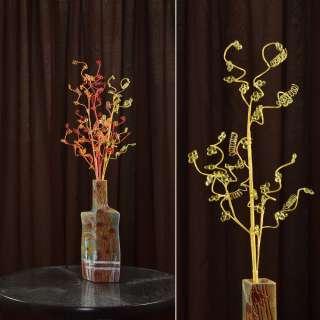 Искусственная веточка 80 см с мелкими цветами и спиралью желтая оптом