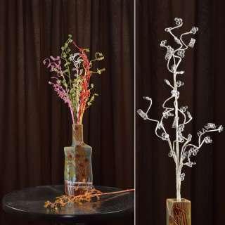 Искусственная веточка 80 см с мелкими цветами и спиралью белая оптом
