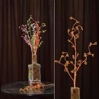 Штучна гілочка 80 см з дрібними квітами і спіраллю помаранчева оптом
