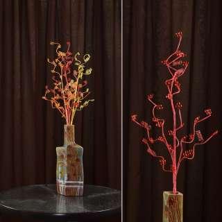 Штучна гілочка 80 см з дрібними квітами і спіраллю червона оптом