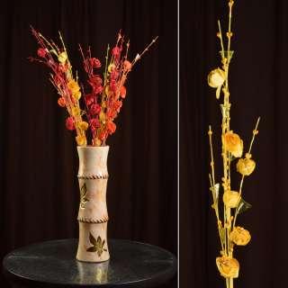 Штучна гілочка 80 см з трояндочками і скляними листами жовта оптом