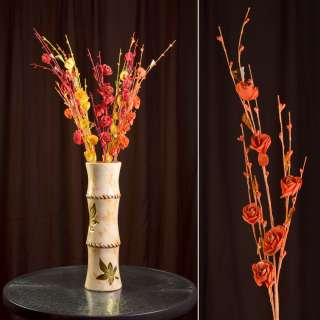 Штучна гілочка 80 см з трояндочками і скляними листами помаранчева оптом