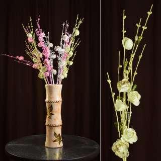 Штучна гілочка 80 см з трояндочками і скляними листами зелена оптом