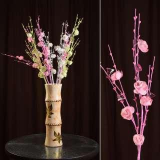 Штучна гілочка 80 см з трояндочками і скляними листами рожева оптом