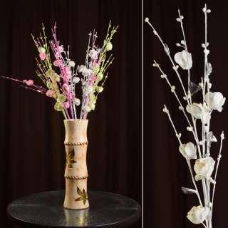 Штучна гілочка 80 см з трояндочками і скляними листами біла оптом