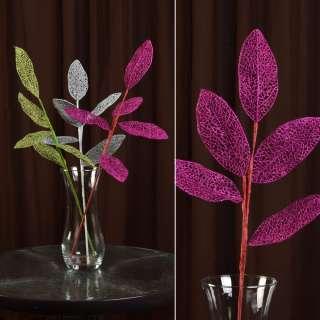 Искусственная веточка 63см с ажурными блестящими листьями розовая оптом