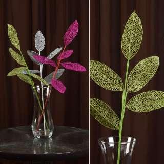 Искусственная веточка 63см с ажурными блестящими листьями зеленая оптом