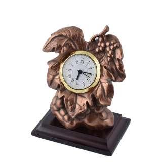 Часы настольные виноградная гроздь 13х11х7,5 см под бронзу оптом