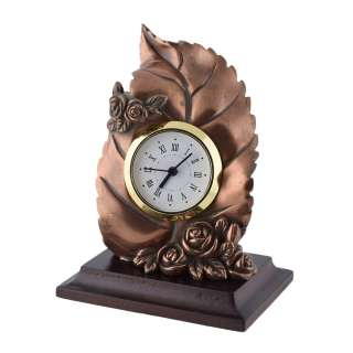 Часы настольные лист с розочками 13х10х7,5 см под бронзу оптом