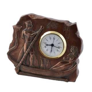 Часы настольные египтяне в лодке 10,5х13х3,5 см под бронзу оптом