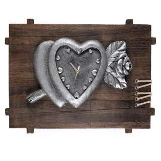 Часы настенные на деревянной основе 35х50х8 см Сердце с розой оптом