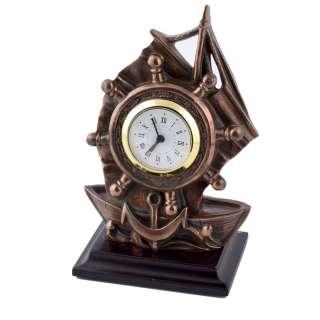 Часы настольные парусник 16,5х11х7,5 см под бронзу оптом