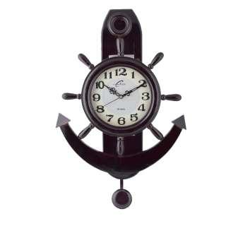 Часы настенные деревянные якорь 60х41х10 см темно-коричневые оптом