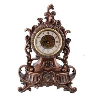 Часы настольные каминные вьющиеся цветы 34х24,5х14 см под бронзу оптом