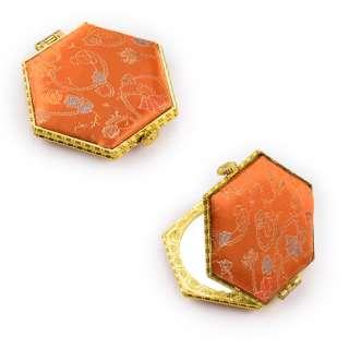 Зеркало косметическое шестиугольное в китайском стиле 8см оранжевое оптом