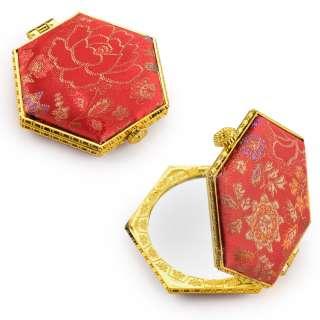 Зеркало косметическое шестиугольное в китайском стиле 8см красное оптом