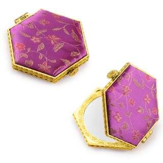 Зеркало косметическое шестиугольное в китайском стиле 8см фиолетовое оптом