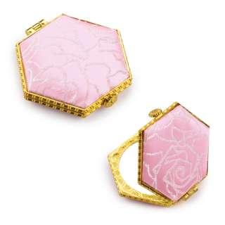 Дзеркало косметичне шестикутне в китайському стилі 8см рожеве оптом