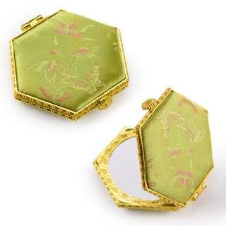 Зеркало косметическое шестиугольное в китайском стиле 8см салатовое оптом