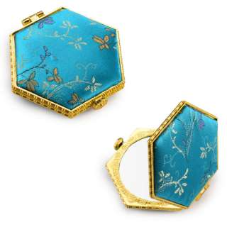 Дзеркало косметичне шестикутне в китайському стилі 8см бирюзове оптом