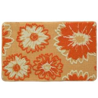 Коврик для ванной прорезиненная основа 50х80 см бежевый, оранжевые цветы оптом
