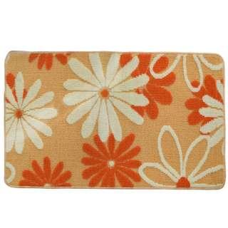 Коврик для ванной прорезиненная основа 50х80 см бежевый, белые, оранжевые цветы оптом