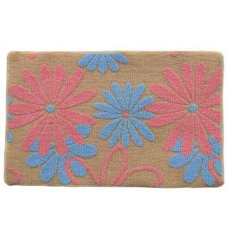 Коврик для ванной прорезиненная основа 50х80 см бежевый, розовые, голубые цветы оптом