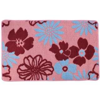 Коврик для ванной прорезиненная основа 50х80 см розовый, бордовые, голубые цветы оптом