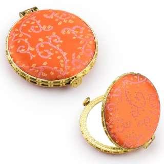 Зеркало косметическое круглое в китайском стиле 8см оранжевое оптом